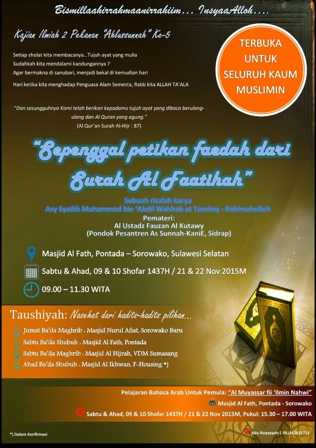 Kajian Sorowako Sepenggal Petikan Faedah dari Surah Al Fathihah
