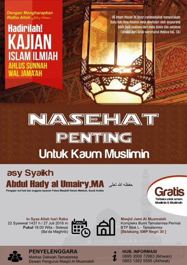 Nasehat Penting untuk Kaum Muslimin
